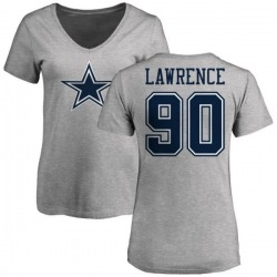 Women's Demarcus Lawrence Dallas Cowboys Name & Number Logo T-Shirt - Ash