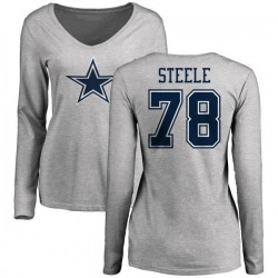 Women's Terence Steele Dallas Cowboys Name & Number Logo Long Sleeve T-Shirt - Ash